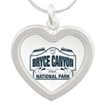 Bryce Canyon Blue Sign Silver Heart Necklace