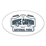 Bryce Canyon Blue Sign Sticker (Oval 50 pk)