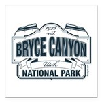 """Bryce Canyon Blue Sign Square Car Magnet 3"""" x 3"""""""