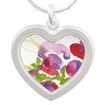 Atom Flowers #36 Silver Heart Necklace