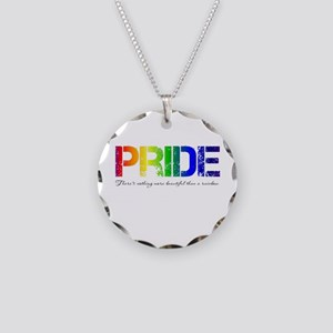 Pride Rainbow Necklace Circle Charm