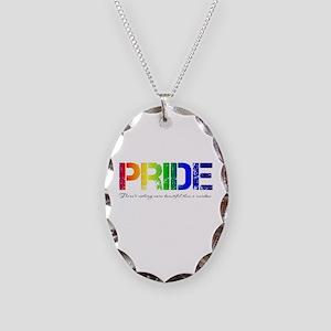 Pride Rainbow Necklace Oval Charm