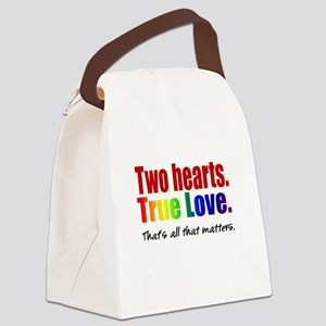 Two Hearts True Love Canvas Lunch Bag