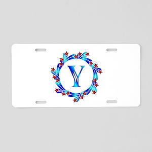 Blue Letter Y Monogram Aluminum License Plate
