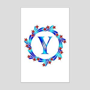 Blue Letter Y Monogram Mini Poster Print