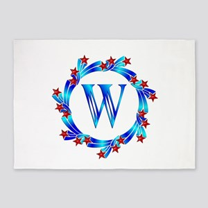 Blue Letter W Monogram 5'x7'Area Rug