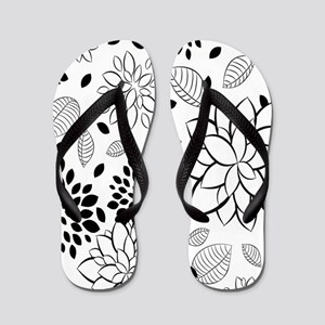 Black and White Floral Flip Flops