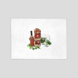 WineBoxBottleGlasses010212 5'x7'Area Rug