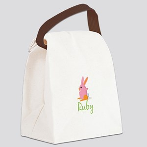 Easter Bunny Ruby Canvas Lunch Bag