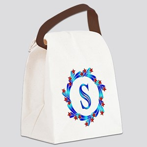 Blue Letter S Monogram Canvas Lunch Bag
