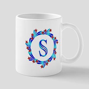 Blue Letter S Monogram Mug
