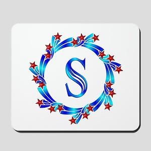Blue Letter S Monogram Mousepad