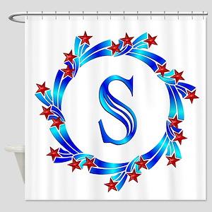 Blue Letter S Monogram Shower Curtain