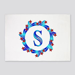 Blue Letter S Monogram 5'x7'Area Rug