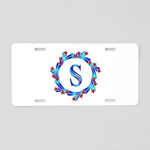 Blue Letter S Monogram Aluminum License Plate