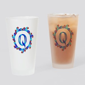 Blue Letter Q Monogram Drinking Glass