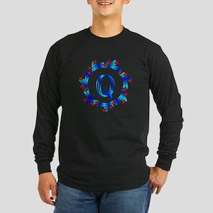 Blue Letter Q Monogram Long Sleeve Dark T-Shirt