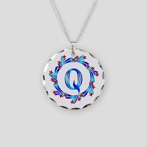 Blue Letter Q Monogram Necklace Circle Charm