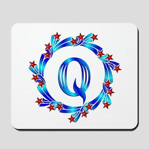 Blue Letter Q Monogram Mousepad