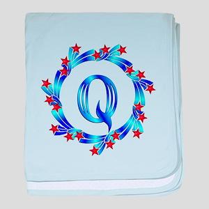 Blue Letter Q Monogram baby blanket