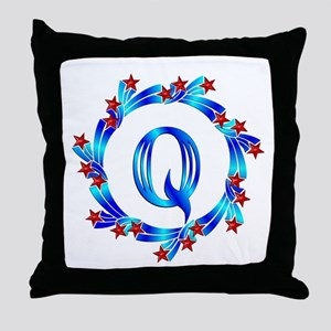 Blue Letter Q Monogram Throw Pillow