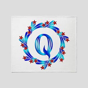 Blue Letter Q Monogram Throw Blanket