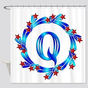 Blue Letter Q Monogram Shower Curtain