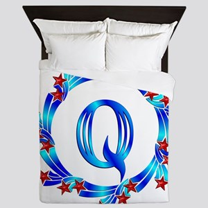 Blue Letter Q Monogram Queen Duvet
