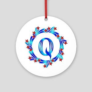 Blue Letter Q Monogram Ornament (Round)