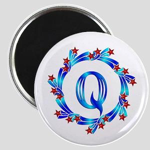 Blue Letter Q Monogram Magnet