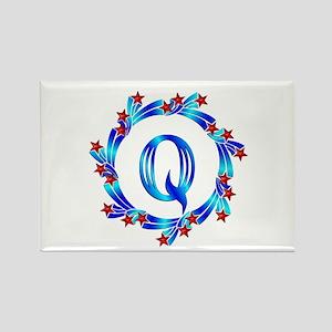 Blue Letter Q Monogram Rectangle Magnet