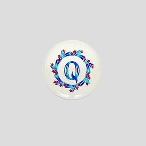 Blue Letter Q Monogram Mini Button