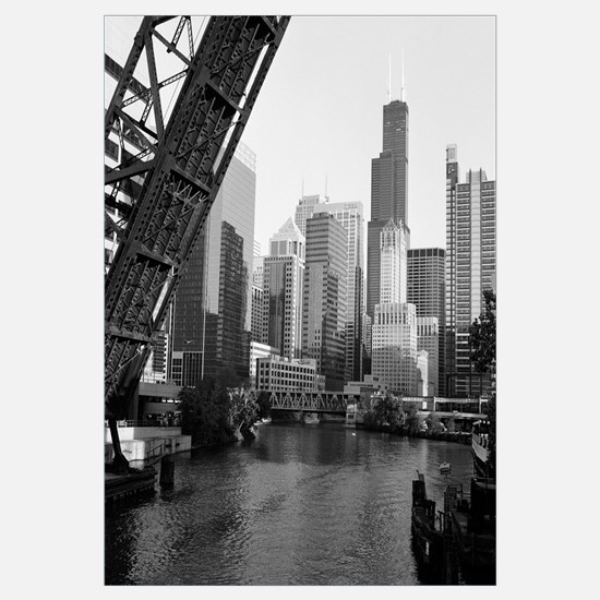 Drawbridge on a river, Chicago River, Chicago, Coo