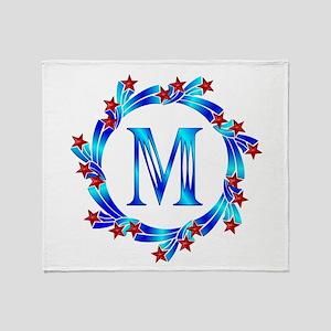 Blue Letter M Monogram Throw Blanket