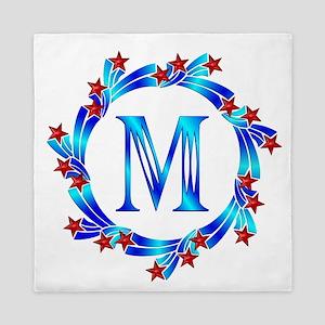 Blue Letter M Monogram Queen Duvet