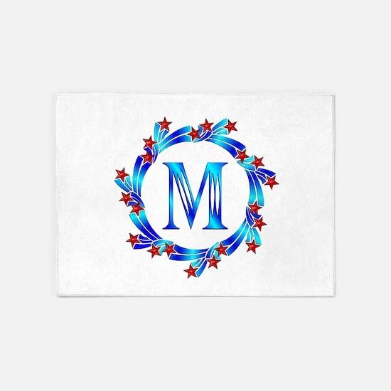 Blue Letter M Monogram 5'x7'Area Rug