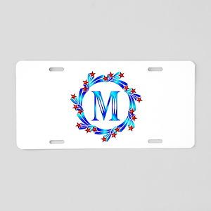 Blue Letter M Monogram Aluminum License Plate