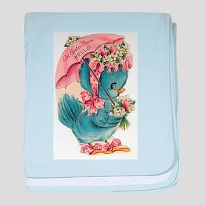 Vintage Easter Blue Bird Bonnet baby blanket