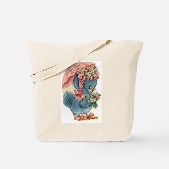 Vintage Easter Blue Bird Bonnet Tote Bag