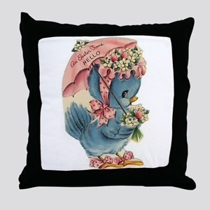 Vintage Easter Blue Bird Bonnet Throw Pillow