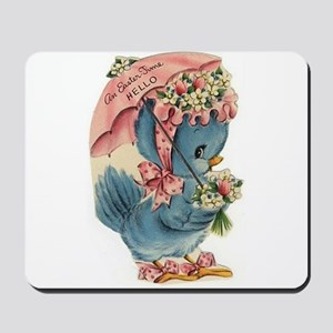 Vintage Easter Blue Bird Bonnet Mousepad
