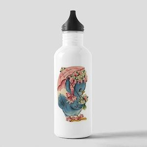 Vintage Easter Blue Bird Bonnet Water Bottle