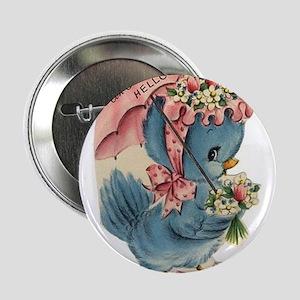 """Vintage Easter Blue Bird Bonnet 2.25"""" Button"""
