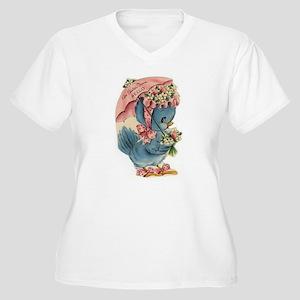 Vintage Easter Blue Bird Bonnet Plus Size T-Shirt
