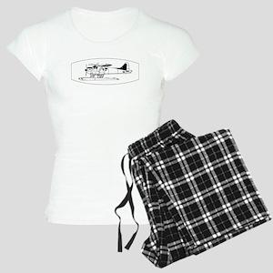 Indiscrete Seaplane Black White Oval Border Pajama