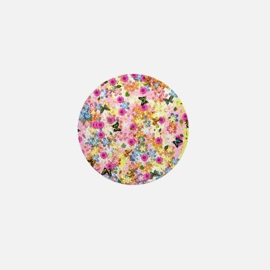 Flowers & Butterflies Mini Button
