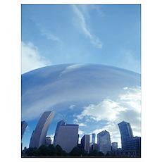 Reflection, Cloud Gate, Millennium Park, Chicago,  Poster