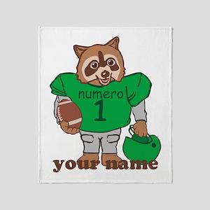 Personalized Football Raccoon Throw Blanket