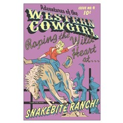 Pop Art Poster Rodeo Cowgirl Bucking Bronco