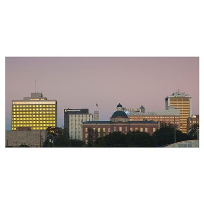 Buildings in a city, Jackson, Hinds County, Missis Poster